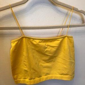 yellow seamless crop top